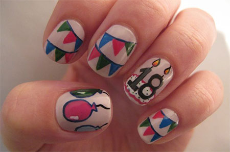 birthday nail art designs 14 30 Easy Birthday Nail Art Designs 2015 30 Easy Birthday Nail Art Designs 2015 birthday nail art designs 141