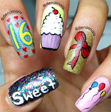 birthday nail art designs 18 30 Easy Birthday Nail Art Designs 2015 30 Easy Birthday Nail Art Designs 2015 birthday nail art designs 181