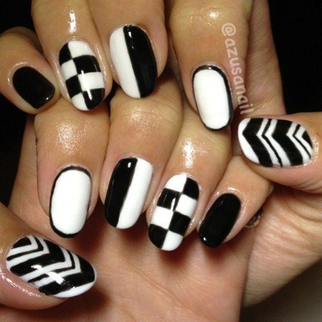 25 Unique Black And White Nail Art Designs 2015