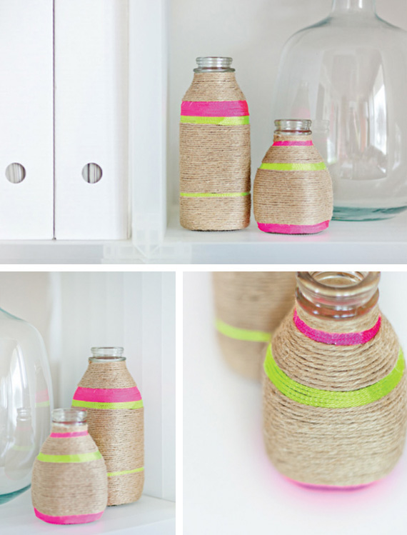 decoration-diy-neon-string-wrapped-vases-1 18 Creative Diy String Art ideas 2015 you can try at home 18 Creative Diy String Art ideas 2015 you can try at home decoration diy neon string wrapped vases 1