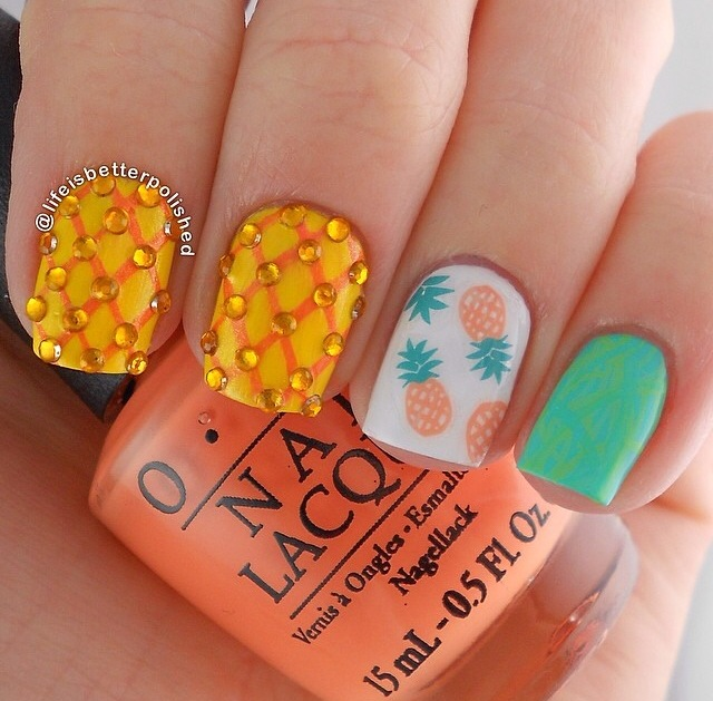 pineapple nail art design 23 24 Beautiful Pineapple Nail Art Designs 2015 24 Beautiful Pineapple Nail Art Designs 2015 pineapple nail art design 23