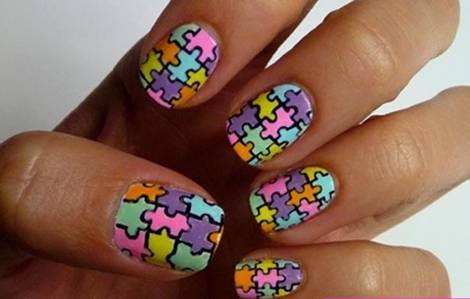 16 Amazing Puzzle Nails Art Designs 2015 16 Amazing Puzzle Nails Art Designs 2015 puzzle nail art designs 11