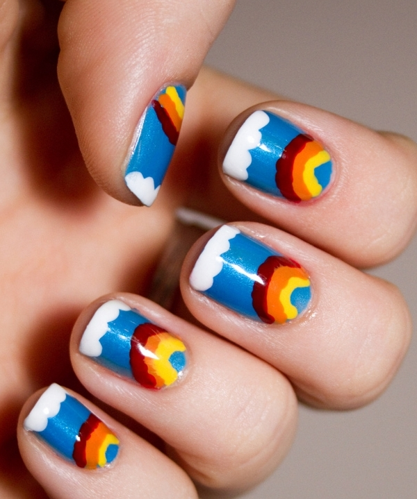 Amazing rainbow nail art design ideas 2015 rainbow nail art designs 17