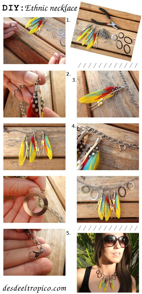 DIY-do-it-yourself-ethnic-necklace. 22 Easy Diy Summer Clothes & Accessories Projects 22 Easy Diy Summer Clothes & Accessories Projects DIY do it yourself ethnic necklace