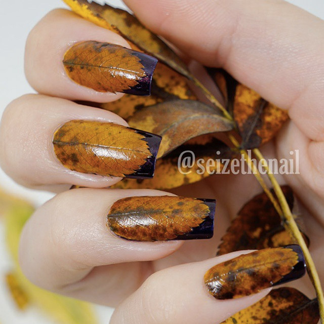 Leafy-nails-by-Seize-The-Nail 20 Summer Nail Designs 2015/16 By Seize The Nail 20 Summer Nail Designs 2015/16 By Seize The Nail Leafy nails by Seize The Nail