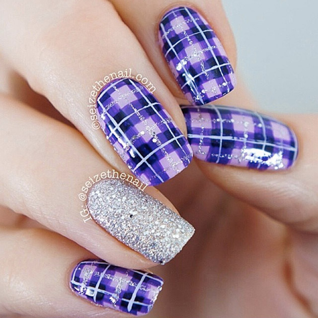 Purple-Plaid-nail-art 20 Summer Nail Designs 2015/16 By Seize The Nail 20 Summer Nail Designs 2015/16 By Seize The Nail Purple Plaid nail art