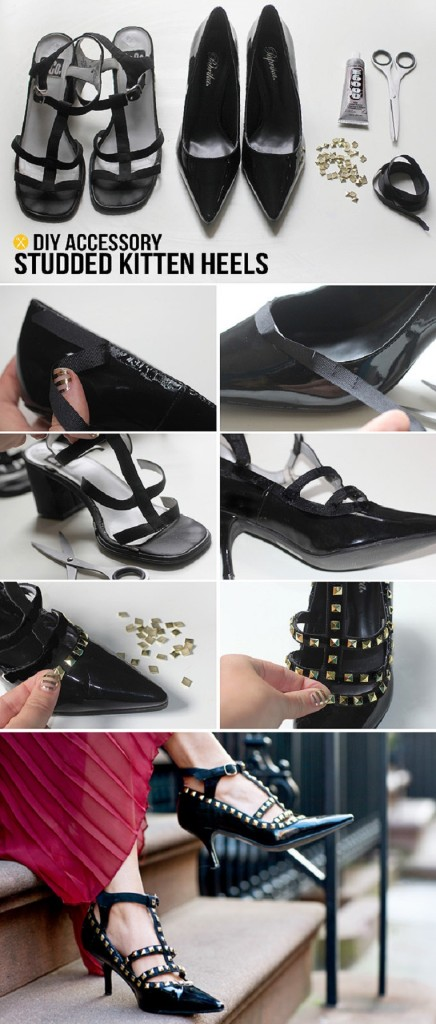 STUDDED-KITTEN-HEELS 22 Easy Diy Summer Clothes & Accessories Projects 22 Easy Diy Summer Clothes & Accessories Projects STUDDED KITTEN HEELS