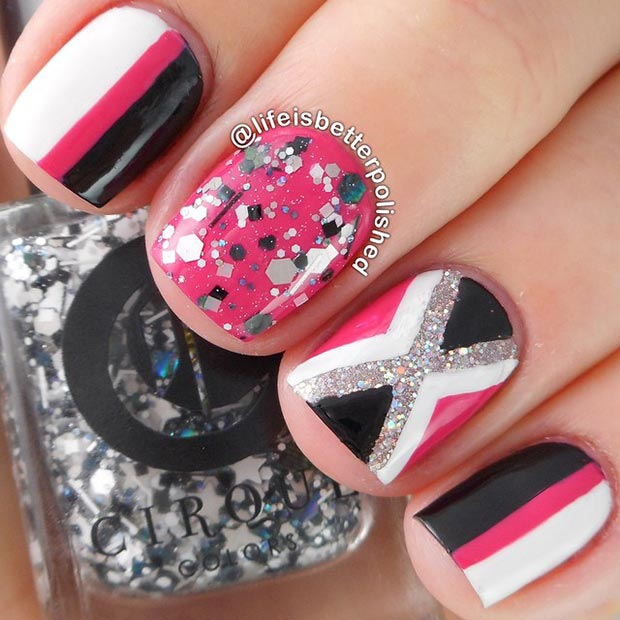 Black-and-Hot-Pink-Nail-Design-for-Short-Nails 25 Amazing Instagram Nails 2015/16 by Life is Better Polished 25 Amazing Instagram Nails 2015/16 by Life is Better Polished Black and Hot Pink Nail Design for Short Nails