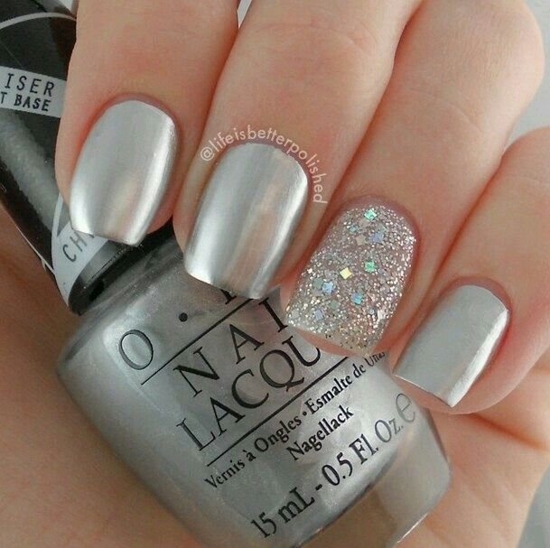 Silver-and-Glitter-Nail-Designs 25 Amazing Instagram Nails 2015/16 by Life is Better Polished 25 Amazing Instagram Nails 2015/16 by Life is Better Polished Silver and Glitter Nail Designs