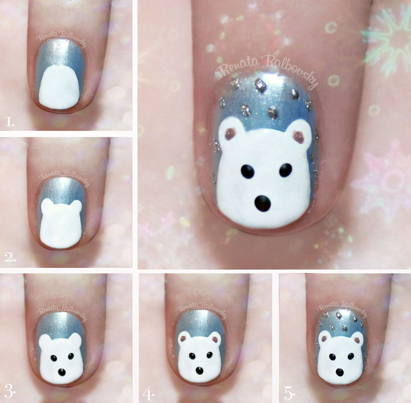 nail art design tutorial step by step for beginners  25 Nail Art Designs Tutorials Step By Step for Beginners 25 Nail Art Designs Tutorials Step By Step for Beginners cute polar bear nail art tutorial