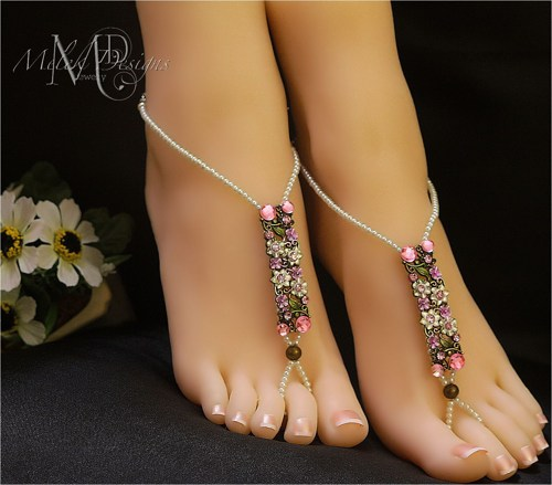 pink_white_pearl_flower_cluster_barefoot_sandals 21 Beach Wedding Barefoot Sandals 2015/16 21 Beach Wedding Barefoot Sandals 2015/16 pink white pearl flower cluster barefoot sandals