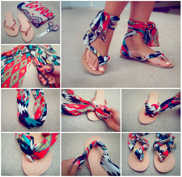 Scarf-Ankle-Wrap-Sandals-wonderfuldiy 18 Adorable Diy Summer Flip Flops For Girls 18 Adorable Diy Summer Flip Flops For Girls Scarf Ankle Wrap Sandals wonderfuldiy