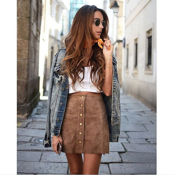 Denim-Jacket-Draped-Over-Your-Shoulders 20 Suede Skirts With Stylish Outfit Ideas For Fall 2015 20 Suede Skirts With Stylish Outfit Ideas For Fall 2015 Denim Jacket Draped Over Your Shoulders