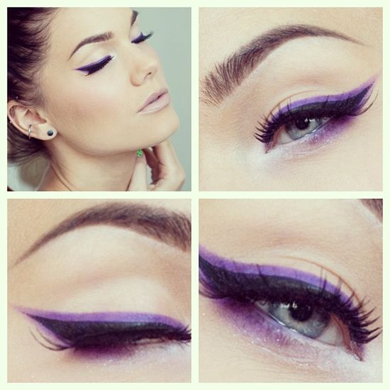 purple-eyeliner-blue-eyes Fabulous Colourful Eyeliner Looks For 2015 & 2016 Fabulous Colourful Eyeliner Looks For 2015 & 2016 purple eyeliner blue eyes