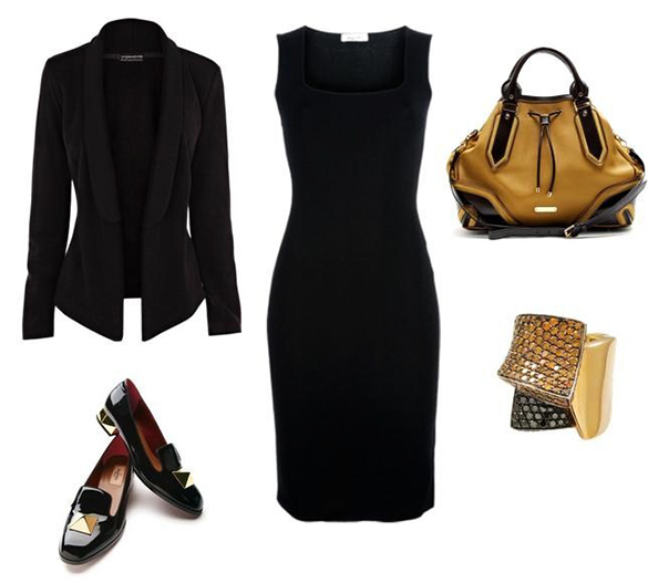 Black-Dress-Outfit-Combination dressing tips 5 Amazing Dressing Tips To Look Slimmer Black Dress Outfit Combination