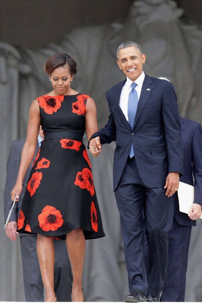 Obama (R) and first lady Michelle Obama arrive at the Let Freedom Ring ceremony at the Lincoln Memorial August 28, 2013 in Washington, DC. Courtesy Getty Images  Michelle Obama's favorite designers 16266dd5f0df203057b40b98302edfce