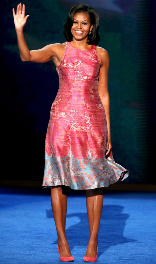 Michelle Obama in Tracy Rees. Courtesy of Pinterest  Michelle Obama's favorite designers 9d693e385b50352fb54452d23e717a96