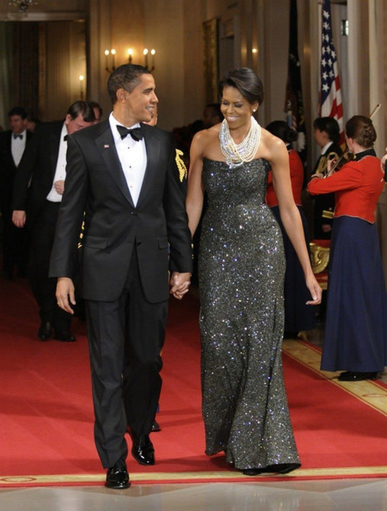 Michelle Obama and the President hosts the National Governors Association  Michelle Obama's favorite designers Michelle Obama Peter Soronen Evening Dress1