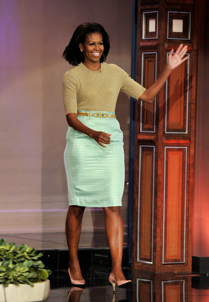 Michelle Obama on a visit to the Tonight Show in J. Crew  Michelle Obama's favorite designers Michelle Obama wearing JCrew ensemble visit Tonight